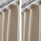 mDesign Set da 2 Tende bagno in tessuti misti - Tende per doccia eleganti e raffinate - Tenda per vasca da bagno facile da lavare - beige