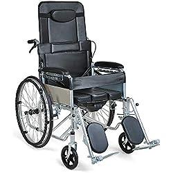 HSRG Silla de Ruedas reclinable estándar: acostado Completo con Asiento de Inodoro, Respaldo Alto extraíble, Silla de Ruedas Liviana Plegable
