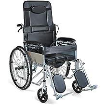 HSRG Silla de Ruedas reclinable estándar: acostado Completo con Asiento de Inodoro, Respaldo Alto