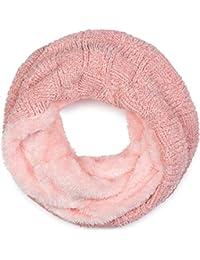 5df486668965 styleBREAKER Écharpe loop en fil chenille avec un motif tressé style damier  et une doublure en polaire, foulard…