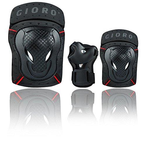 Gioro Erwachsener/Jugendlicher-Schutzausrüstung stellt Skateboard-Eislauf-Knieschützer-Sätze ein Radfahren Roller Skating Knie Ellenbogen Handgelenkschutz Pads Set 6st (Medium(Mittel), Black(Schwarz)) (Knie-pads Radfahren)