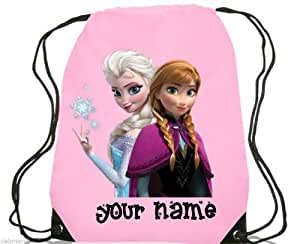 Frozen Gym Bag Personalised Swim / PE / Shoe / Kids Bag Back to School (Pink) L2-D1