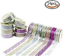 Goodlucky365 14 Rollos Multicolor Washi Tape Cintas de Cordón Patrón Floral Cintas de Encajes Brillantes Cintas Auto-adhesivas Decoración de Pegatinas Para DIY álbum de Recortes