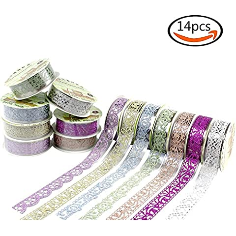 Goodlucky365 14 Rollos Multicolor Washi Tape Cintas de Cordón Patrón Floral Cintas de Encajes Brillantes Cintas Auto-adhesivas Decoración de Pegatinas Para DIY álbum de