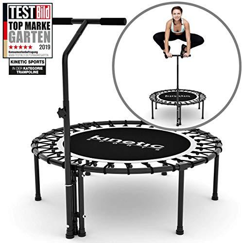 Kinetic Sports Fitness Trampolin Indoor Ø 100 cm, RUND, höhenverstellbarer Haltegriff, Gummiseilfederung, Free OHNE Randabdeckung, belastbar bis 120 kg