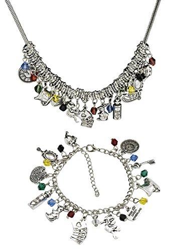 'Alice im Wunderland' Motto Armband und passende Halskette Set für Frauen