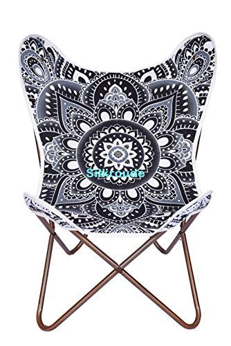 Mariposa silla cubierta gris Lotus Mandala silla diseño de mariposas lienzo silla