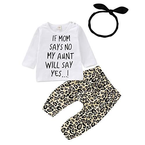 Kleinkind Baby Mädchen Outfits Set 3 Stück Langarm Brief T Shirt Lange Hose Stirnband Baumwolle Kleidung Set für 0-24 Monate (12-18 Monate, Weiß) (Größe Monate 18 Mädchen Kleidung)