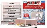 M&H-24 Tablettenbox Pillenbox Pillendose Medikamentenbox Tablettendose Wochendosierer 7 Tage Woche Morgens Mittags Abends Nachts Weiß, 2 Tablettenbox