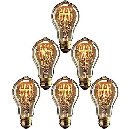(6 x Leuchtmittel E27 Vintage, E27 40W A19 Dekorative Glühlampe, Warmweiß, Dimmbar, Retro Birne für den Haushalt dekorative Beleuchtung)
