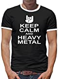 TLM Keep Calm and Heavy Metal Camiseta de contraste para hombre T-Shirt XL negro