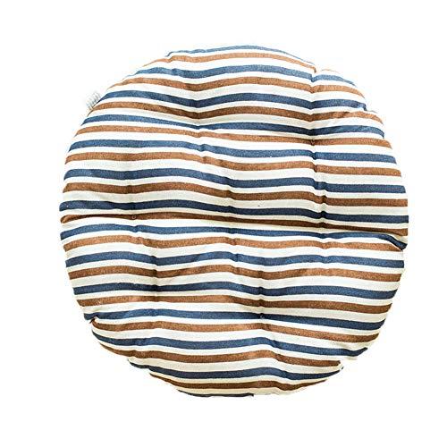 FOKIT Tatami Chair Seat Cushion, 100% Cotton Pad Seat Cushion Stripe Elastic Breathable Linen Round Student Office,Bronze,50cm -