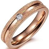JewelryWe Schmuck Edelstahl Ewigkeit Ring Damen-Ring, sandgestrahlt Kanten Rose Gold, Verlobung Hochzeit Band Liebhaber Geschenk 4mm Breite Größe 49