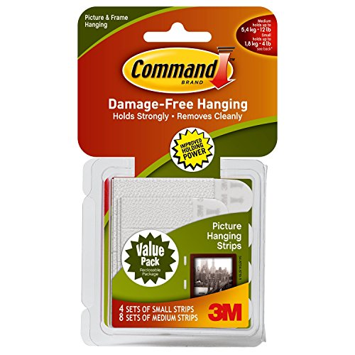 Command Small and Medium Picture Hanging Strips Value Pack, 4 pairs small, 8 pairs medium Test