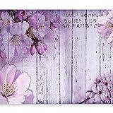 murando - Fototapete Blumen 400x280 cm - Vlies Tapete - Moderne Wanddeko - Design Tapete - Wandtapete - Wand Dekoration - Blume rosa pink Holz Bretter b-A-0202-a-c