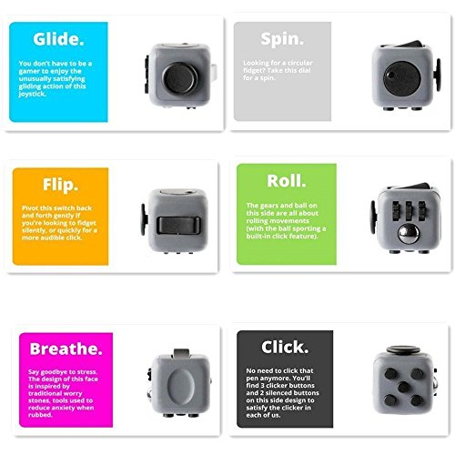 Fidget Cube With Case Desk Toy Set Clicker Joystick Buttons For Stress Anxiety Focus ADHD Autism Adults Kids Students Office Gift Pack (5#Rose Red) - 4