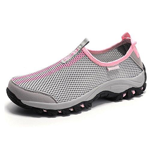 Mesh Oberfläche Abriebfeste Rutschfeste Sohle Aquaschuhe Schnell Trocknend Wandern Outdoor Freizeitschuhe Sneakers Unisex Damen Herren Grau