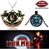 (2 Pcs AVENGER SET) - IRONMAN HANDS (GOLD) & IRON MAN ARC REACTOR (BLACK) IMPORTED PENDANTS WITH CHAIN. LADY HAWK DESIGNER SERIES 2018. ❤ ALSO CHECK FOR LATEST ARRIVALS - NOW ON SALE IN AMAZON - RINGS - KEYCHAINS - NECKLACE - BRACELET & T S