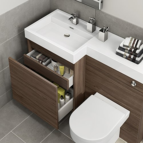 1200 Mm Modern Walnut Bathroom Drawer Vanity Unit Basin Sink + Toilet ...