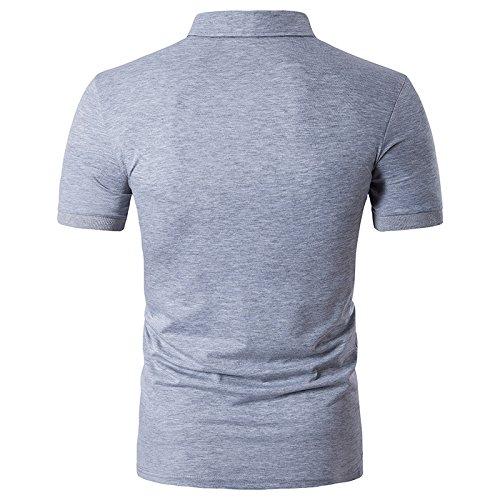 Glestore Herren Poloshirt Baumwolle Ausdrucken Hand T-shirt Grau