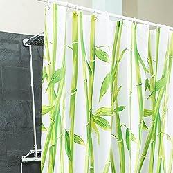 Duschvorhang Bambus textil - Hygienisch & elegant | Badewannen-Vorhang 100% Polyester Badewanne Anti Schimmel 180 x 200 cm waschbar | Dekoration Feng Shui Bamboo | asiatischer stil