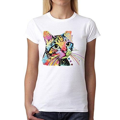 Dean Russo Katze Farbig Kubismus Damen T-Shirt Weiß XS (Russo Dean Katze)