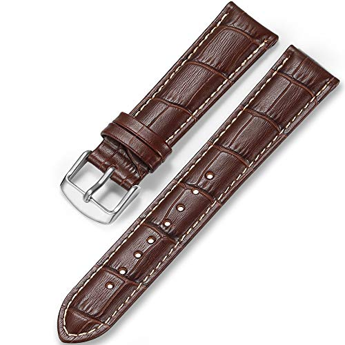 iStrap Uhrenarmbänder Band 12/13/14/15/16/17mm 18mm 19mm 20mm 21mm 22mm 24mm Guine Lederarmband mit Krokodilmuster - Schwarz Braun Gold (22mm, Brown tan Stich-Silver 02)