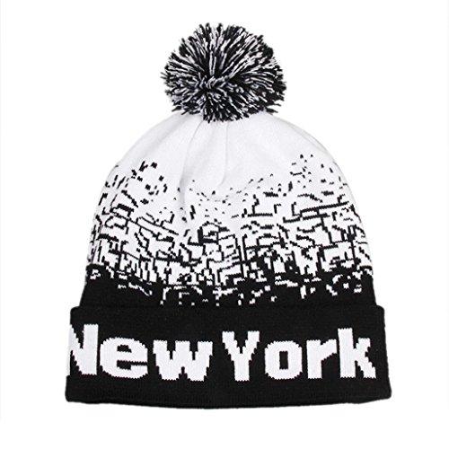Imagen de malloom hombres mujeres holgados cálido invierno lana esquí cráneo slouchy new york gorros gorro de punto negro  alternativa