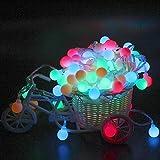DOLDOA LED Kugel Lichterkette - 20 Kugel 2.5M Batteriebetriebene Deko Beleuchtung - Perfekt für Innen-und Außenbereich Garten Weihnachtsbaum Party Fest Hochzeit Dekoration (Mehrfarbig)