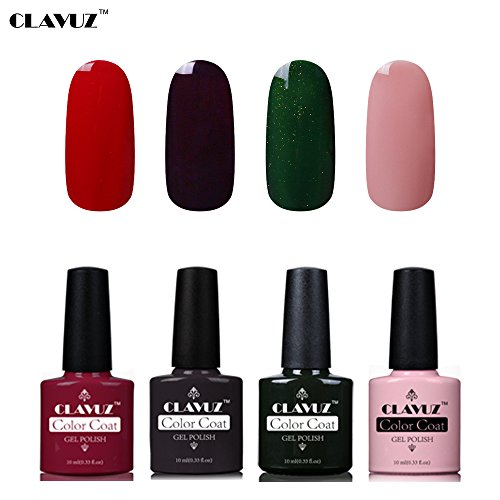 Set de Vernis à Ongles Semi-Permanent UV LED Soakoff 4pcs Kit Manucure 10ml de Clavuz-KIT 006