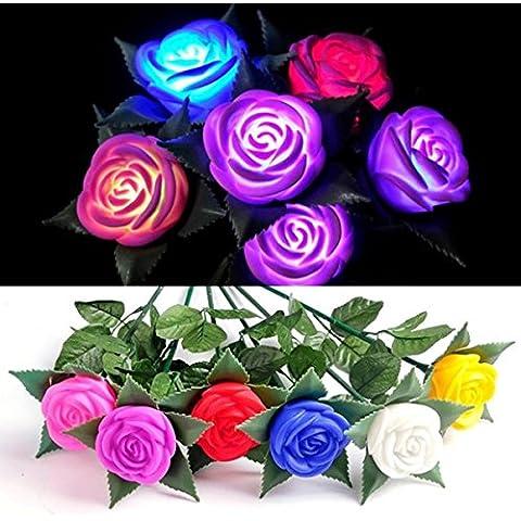 Cambio de colores rosa luces LED al aire libre Patio de la l‡mpara del jard'n de flores de simulaci—n