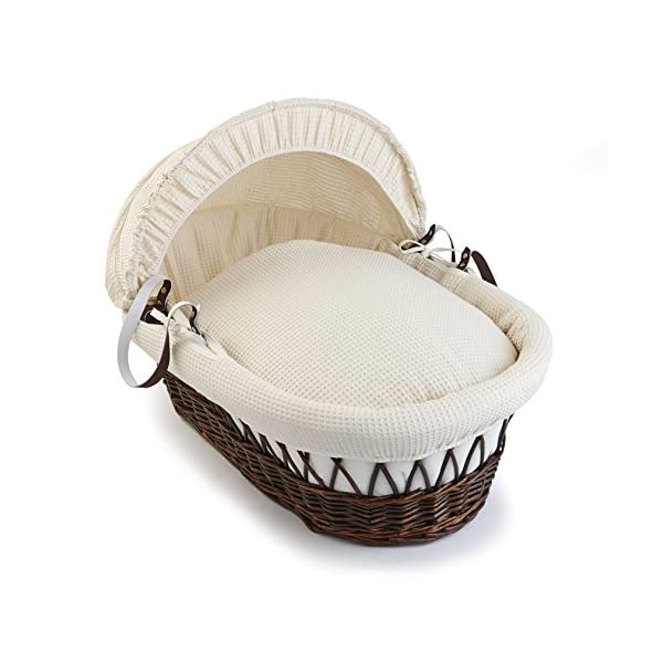 Waffle Dark Wicker Moses Basket - Cream  Breathable Waffle cotton dressings are super soft next to your baby's skin. Comes complete with two carry handles, adjustable hood, 2.0 tog coverlet & mattress. The Moses basket is made using sturdy, lightweight wicker 1