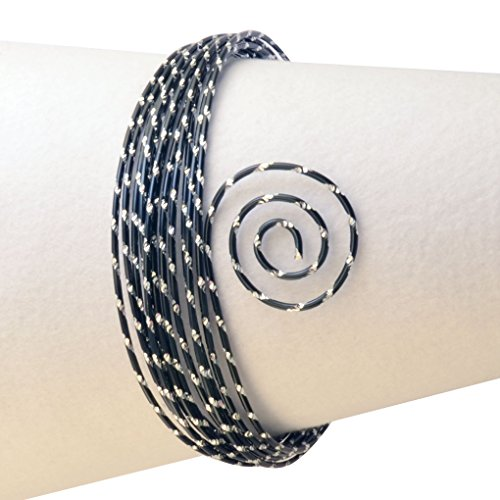 Vaessen Creative Aludraht Diamant Schmuck 2 mm x 5 Meter | Biegsam Schmuckdraht Schwarz, Aluminium, 500 x 0.2 x 0.2 cm