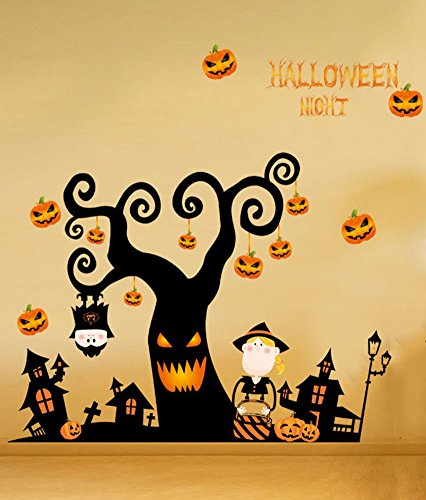 Moolecole Halloween Baum Kunst Ghost Haus Kürbis Licht Mauer Aufkleber Mauer Dekorativ PVC Kann Entfernen Mauer Dekor