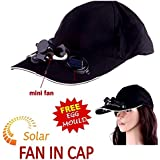 VOLTAC Solar Power Air Fan Hat Peak Cap Sunhat for Outdoor Camping with free stainless steel Egg Mould (Multicolour)