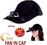 Solar Power Air Fan Hat Peak Cap Sunhat for Outdoor Camping / Hiking / Cycling (Multi color) with free stainless steel egg mould inside gift..