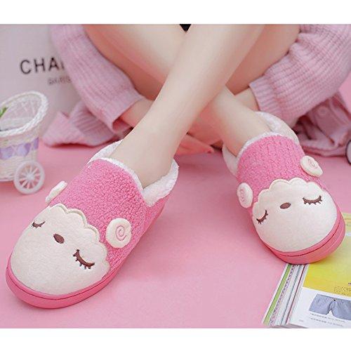Paragon Mens Donna Pantofole Invernali Peluche Calore Morbide Pantofole Cuddly Cartoon Pecore Casa Pantofole Antiscivolo 02 Rosa Rossa