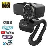 AUSDOM Webcam Full HD 1080P Computer-Kamera Eingebautes Mikrofon Breitbild Videoanrufen und Aufnahmen Support Facebook Youtube Twitch Streaming, Kompatibel für Windows 10/8/7 und Mac