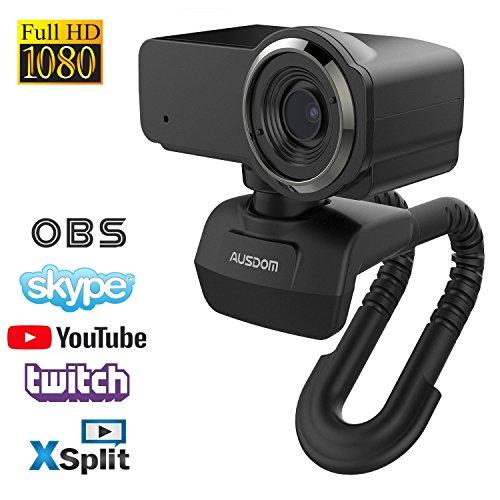 Webcam Full HD 1080P Computer-Kamera Eingebautes Mikrofon Breitbild Videoanrufen und Aufnahmen Support Facebook YouTube Twitch Streaming, Kompatibel für Windows 10/8/7 und Mac