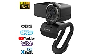 AUSDOM Webcam Streaming HD 1080P Video Calling and Recording Web Camera with Dual Built-in Noise Cancelling Microphones, Desktop PC or Laptop Cam