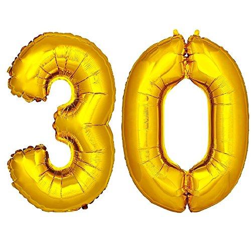 DekoRex 30 Globo en Oro 120cm de Alto decoración cumpleaños para Aire y Helio número