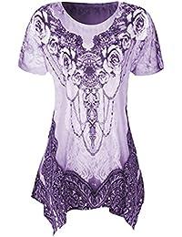 eebeb759b1daa7 VEMOW Sommer Mode Elegante Damen Frauen Oansatz Plissee Plus Größe Kurzarm  Casual Daily Dance Party Bluse Top Tunika Shirt…