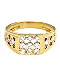 Atjewels Round Cut White CZ 14k Yellow Gold Over Sterling Silver Engagement Ring Size 12 For Men's & Boys For...
