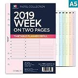Nbplanner® 2019semaine sur deux pages Planner avec rendez-vous horaire A5ligné Planner recharge pour organiseur anglais Agenda 6anneaux A5à anneaux Compatible Insert rose
