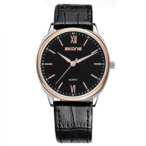 ORT HerrenmoRUDE Uhr einfaches Zifferblatt PU-Armband Leben wasserdichte Uhr, 001