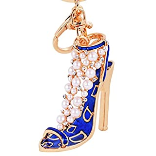 ALCYONEUS Fashion Lady High Heel Shoe Pendant Shiny Rhinestone Alloy Bag Car Keychain (3#-Blue)