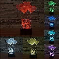 Idea Regalo - Livecity, LED a forma di cuore colorato, illusione 3D, luce notturna, lampada da tavolo