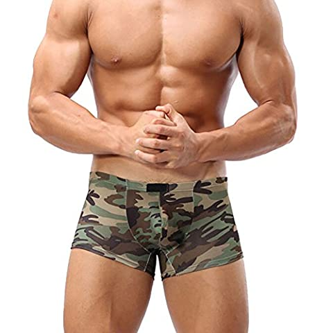 Men's Sexy Military Print Figure Hugging Stretch Lycra Boxer Shorts - R78 (Large = 32-34 Inch
