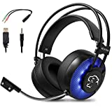 ROXTAK Cuffie Gaming, Cuffie da Gioco Microfono, Fascia per Il Suono Surround 7.1 virtuale, Illuminazione a LED, Jack da 3,5 mm per PS4 PRO / PS4 Xbox One PC Laptop Mac Telefono Cellulare
