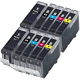 10 Canon Compatible Printer Ink Cartridges (2 Set of 5) for Pixma MP500 MP530 MP600 MP600R MP610 MP800 MP800R MP810 MP830 iP4200 iP4300 iP4500 iP5200 iP5200R iP5300 Printer Inks - CLI-8 / PGI-5 (Contains: CLI-8C, CLI-8Y, CLI-8M,CLI-8B, PGI-5BK) MP 500 MP 530 MP 600 MP 600R MP 610 MP 800 MP 800R MP 810 MP 830 iP 4200 iP 4300 iP 4500 iP 5200 iP 5200R iP 5300 - With Chip